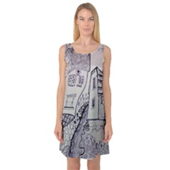 Doodle Drawing Texture Style Sleeveless Satin Nightdress