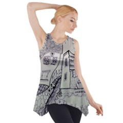 Doodle Drawing Texture Style Side Drop Tank Tunic