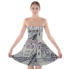 Doodle Drawing Texture Style Strapless Bra Top Dress