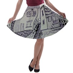 Doodle Drawing Texture Style A Line Skater Skirt