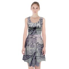 Doodle Drawing Texture Style Racerback Midi Dress