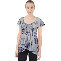 Doodle Drawing Texture Style Lace Front Dolly Top