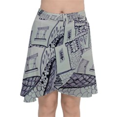 Doodle Drawing Texture Style Chiffon Wrap