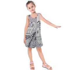 Doodle Drawing Texture Style Kids  Sleeveless Dress