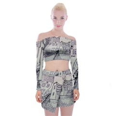 Doodle Drawing Texture Style Off Shoulder Top With Mini Skirt Set
