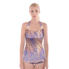 Flourish Artwork Fractal Expanding Boyleg Halter Swimsuit