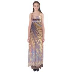 Flourish Artwork Fractal Expanding Empire Waist Maxi Dress