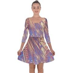 Flourish Artwork Fractal Expanding Quarter Sleeve Skater Dress