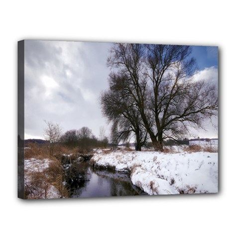 Winter Bach Wintry Snow Water Canvas 16  X 12