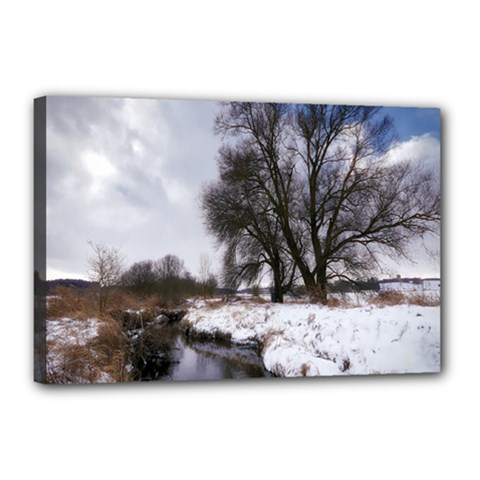 Winter Bach Wintry Snow Water Canvas 18  X 12