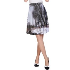 Winter Bach Wintry Snow Water A Line Skirt