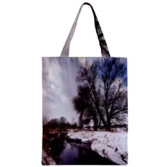 Winter Bach Wintry Snow Water Zipper Classic Tote Bag