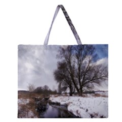 Winter Bach Wintry Snow Water Zipper Large Tote Bag