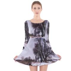 Winter Bach Wintry Snow Water Long Sleeve Velvet Skater Dress