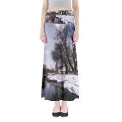 Winter Bach Wintry Snow Water Full Length Maxi Skirt