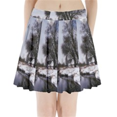 Winter Bach Wintry Snow Water Pleated Mini Skirt