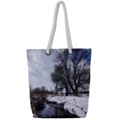 Winter Bach Wintry Snow Water Full Print Rope Handle Bag (small)