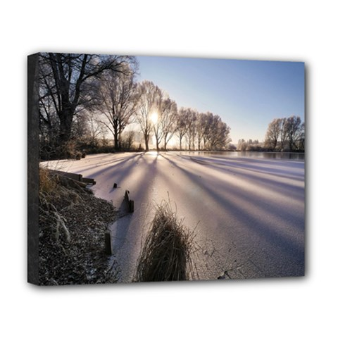Winter Lake Cold Wintry Frozen Deluxe Canvas 20  X 16