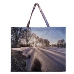 Winter Lake Cold Wintry Frozen Zipper Large Tote Bag