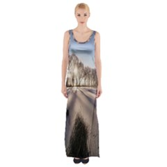 Winter Lake Cold Wintry Frozen Maxi Thigh Split Dress
