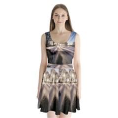 Winter Lake Cold Wintry Frozen Split Back Mini Dress