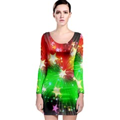 Star Abstract Pattern Background Long Sleeve Bodycon Dress