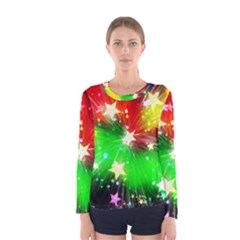Star Abstract Pattern Background Women s Long Sleeve Tee
