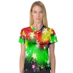 Star Abstract Pattern Background V Neck Sport Mesh Tee