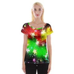 Star Abstract Pattern Background Cap Sleeve Tops