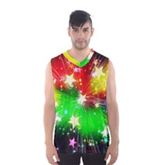 Star Abstract Pattern Background Men s Basketball Tank Top