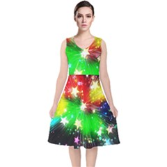 Star Abstract Pattern Background V Neck Midi Sleeveless Dress