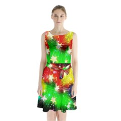 Star Abstract Pattern Background Sleeveless Waist Tie Chiffon Dress