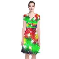 Star Abstract Pattern Background Short Sleeve Front Wrap Dress