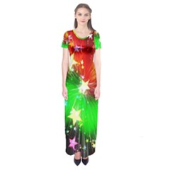 Star Abstract Pattern Background Short Sleeve Maxi Dress