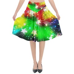 Star Abstract Pattern Background Flared Midi Skirt