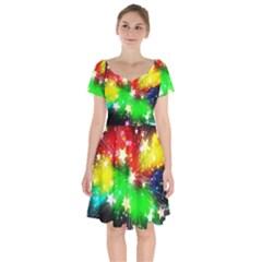 Star Abstract Pattern Background Short Sleeve Bardot Dress