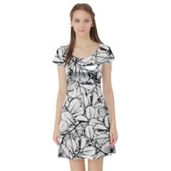 White Leaves Short Sleeve Skater Dress