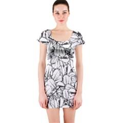 White Leaves Short Sleeve Bodycon Dress