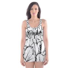 White Leaves Skater Dress Swimsuit