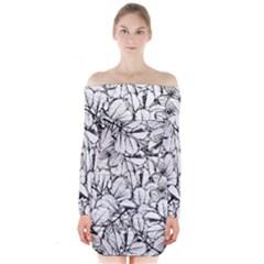 White Leaves Long Sleeve Off Shoulder Dress