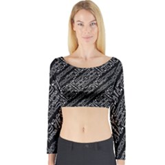 Tribal Stripes Pattern Long Sleeve Crop Top