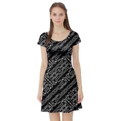 Tribal Stripes Pattern Short Sleeve Skater Dress