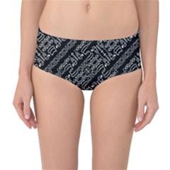 Tribal Stripes Pattern Mid Waist Bikini Bottoms