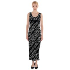 Tribal Stripes Pattern Fitted Maxi Dress