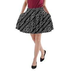 Tribal Stripes Pattern A Line Pocket Skirt