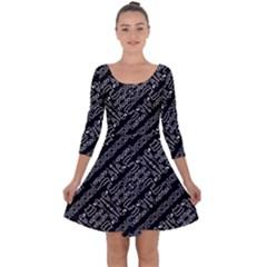 Tribal Stripes Pattern Quarter Sleeve Skater Dress