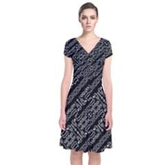 Tribal Stripes Pattern Short Sleeve Front Wrap Dress