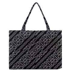 Tribal Stripes Pattern Zipper Medium Tote Bag