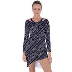 Tribal Stripes Pattern Asymmetric Cut Out Shift Dress