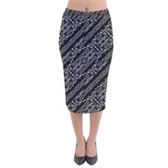 Tribal Stripes Pattern Velvet Midi Pencil Skirt